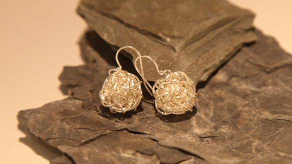 large wire wrapped hanging earrings (non-tarnish silver)
