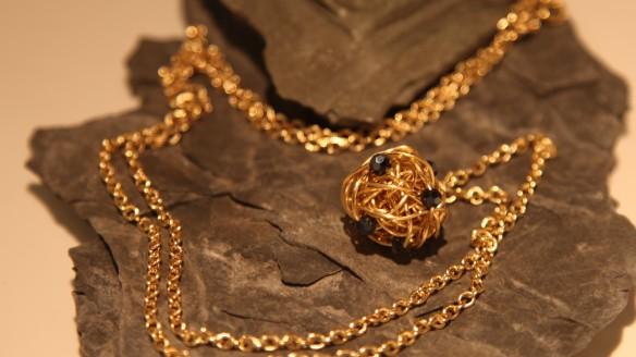 """wire wrapped (brass with dark smokey quartz, 30"""" chain displayed)"""