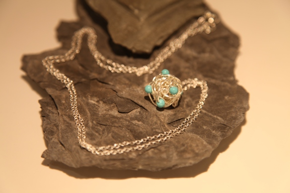 "wire wrapped (silver with turquoise beads, 30"" chain displayed)"