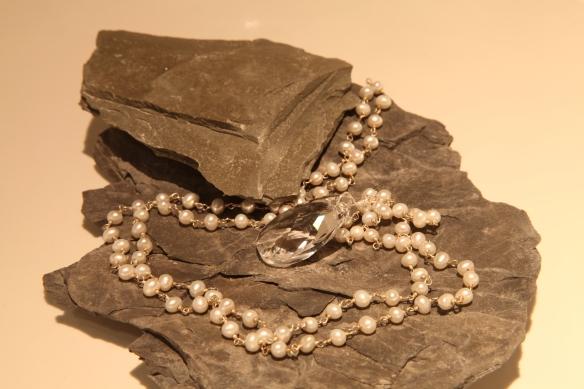 Pear Princess (pear shaped Swarovski clear crystal/pearl beaded chain)