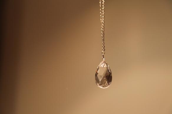 Clear drop (Swarovski pear clear crystal/silver chain)