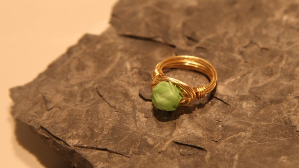 wire wrapped ring (brass non-tarnish, light green helix)