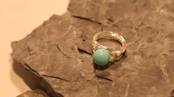 wire wrapped ring (silver non-tarnish, turquoise bead)