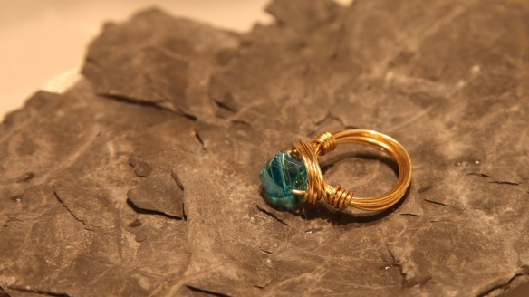 wire wrapped ring (brass non-tarnish, clear aqua helix)