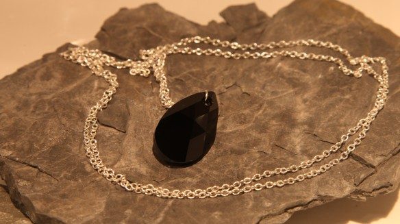 Black Queen Silver (black Swarovski pear shape crystal/silver chain)